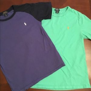 2 boy's navy & green POLO s.s. shirts/ size(14/16)